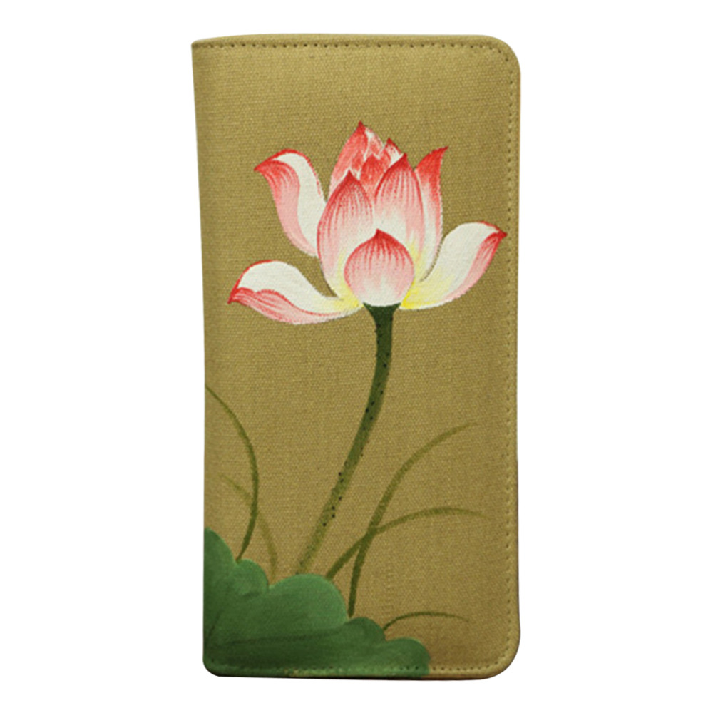 2016 Vintage National Hand-painted Lotus Orchid Women Purse Elegant Long Zipper Wallet Cotton Fabric Ladies Clutch Coin Pocket(China (Mainland))