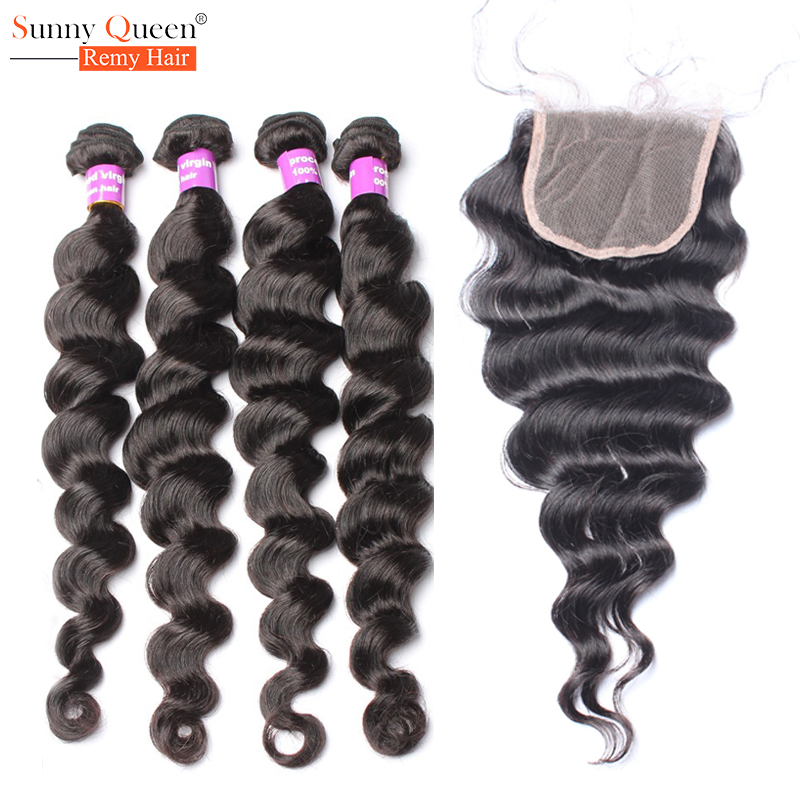 Brazilian Virgin Hair With Closure Loose Wave 4 Bundles With Closure Rosa Queen Hair Products Brazilian Loose Curly Virgin Hair