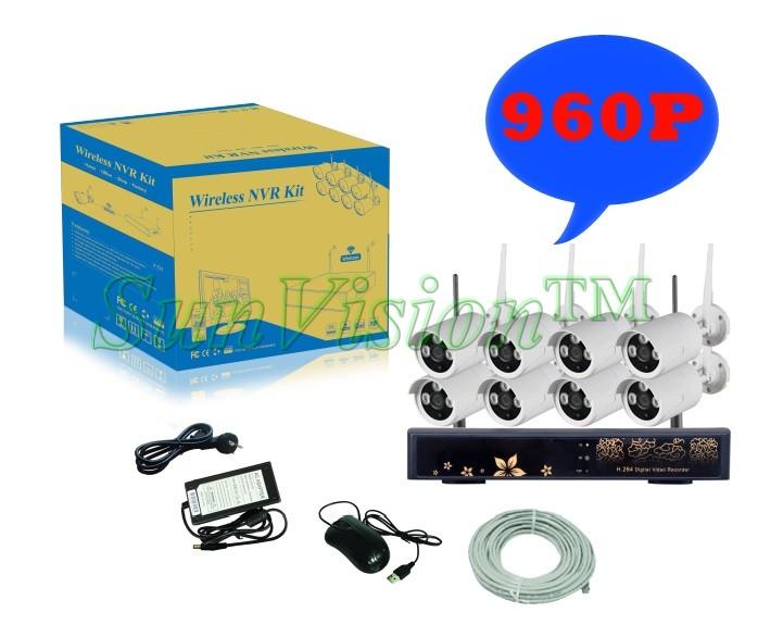2016 new SunVision HD CCTV IP Camera 960P 1.3MP 8CH NVR Kit 1SATA Port with 8pcs HD Wireless Wifi Mini IP Camera Outdoor P2P(China (Mainland))