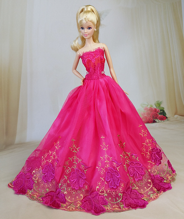 NK One Pcs 2016 Princess Wedding Dress Noble Party Gown For Barbie Doll Fashion Design Outfit Best Gift For Girl' Doll 005E(China (Mainland))