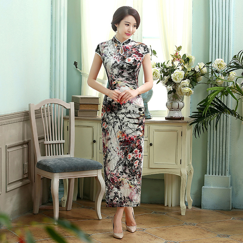 New black Chinese womens VELVET evening dress/ long Cheongsam size6-14 TD0015Одежда и ак�е��уары<br><br><br>Aliexpress
