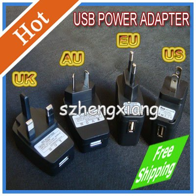 Free Shipping DHL USB AC Power Supply Wall Adapter MP3 Charger US EU AU UK  Plug Black Plug USB AC DC Power Supply Wall Charger<br><br>Aliexpress