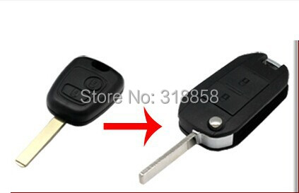 Brand New Modified Replacement Shell Folding Flip Remote Key Case for 2 BTN PEUGEOT 307 107 207 407 Keyless Entry Remote Fob(China (Mainland))
