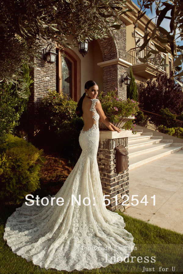 Best Selling Sexy Backless Lace Mermaid Wedding Dresses