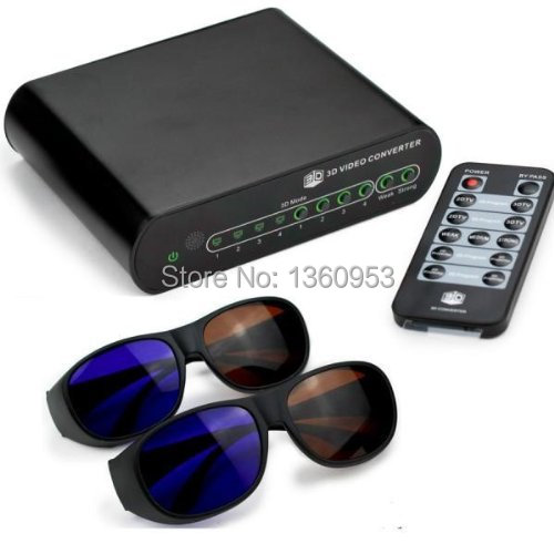 2D to 3D Video Converter Box 3D glasses*2pcs Support 1080P 3D DLP Projector Media Processor HDMI 3D TV and Games(China (Mainland))