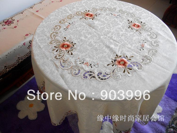 size:round 120cm-European-style luxury 807 rural hollow out flag embroidered fashion contracted foreign trade table cloth(China (Mainland))