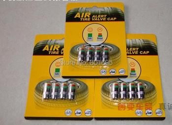 8pcs  wheels car wireless tire pressure monitoring system TPMS car valve cap pressure indicator retail package 2.4bar