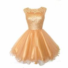2015 eine Linie Scoop Gold Heimkehr Kleider Für Juniors Cap Sleeves Tüll Rock Reizvolles Geöffnetes Zurück Cocktail Party Prom Kleider(China (Mainland))