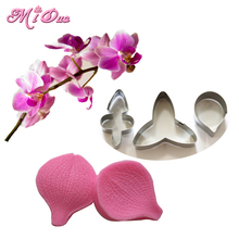 Butterfly Orchid Petal Silicone Veiner & Cutter Flower Cutter Cake Decorating Moulds Fondant Sugarcraft Stainless Steel Cutter(China (Mainland))