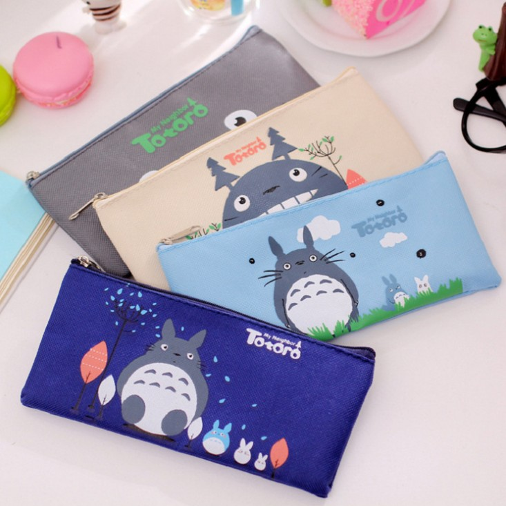 Cute School Pencil Bag Totoro Pencil Pouch Zipper Hayao Miyazaki Cosmetic Bags Office Stationery Pencil Case School Supplies(China (Mainland))