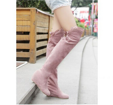 Freeshipping Autmn Boots New Arrival Sexy Plus Size 34-43 Shoes Elegant Wedge Over the Knee Designer Lace Ladies Boots ML354<br><br>Aliexpress