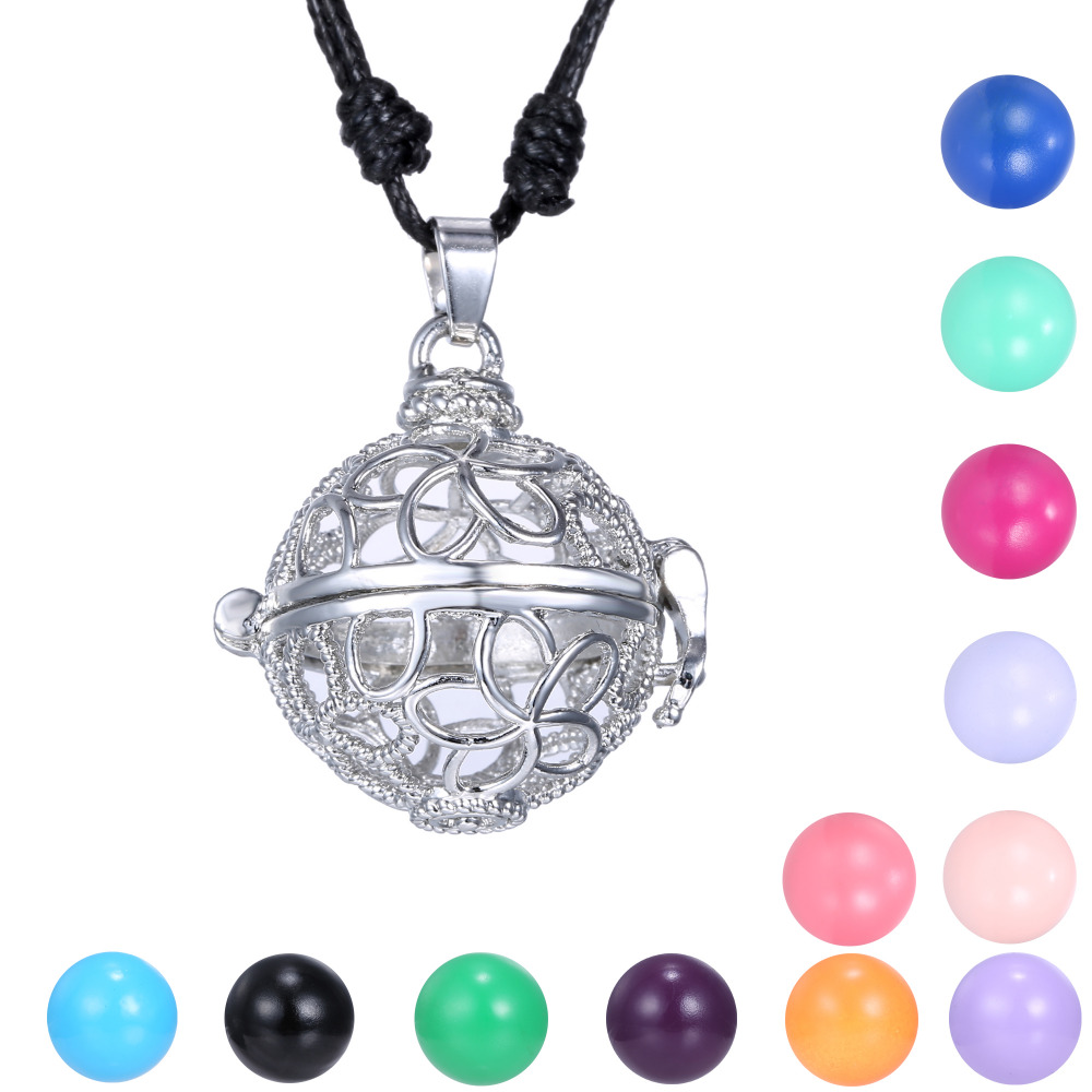 Harmony Pregnancy Bola Cage Necklace With Sexy Black Leather Chain Musical Sound Ball Necklace For Pregnant Mother(China (Mainland))