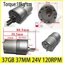Buy DC 24V motor 37GB 37MM 120RPM High-powered Torque 18KG*CM high torque gear box motor gearmotors CNC motor for $18.88 in AliExpress store