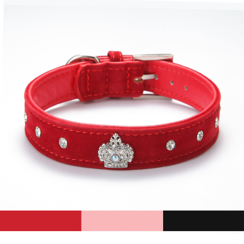 Rhinestones Crown Dog Collar Soft Velvet Material Adjustable necklacePet Dog Cat Collars with 4colors XS S M L XL Free shipping(China (Mainland))