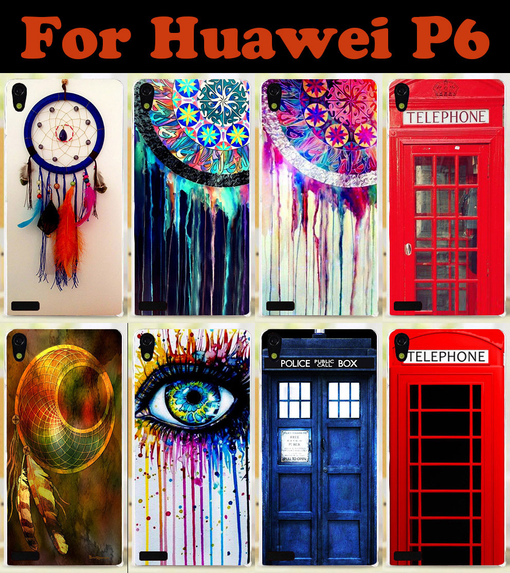 2015 Telephone Booth Dreamcatcher Transparent side mobile cell phone case hard Back cover Skin Shell for Huawei Ascend P6(China (Mainland))