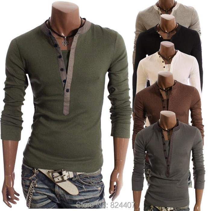 Men 39 S Deep V Neck Long Sleeve T Shirts Tshirt Camisetas