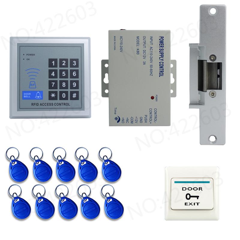 new rfid door access control system kit set strike door lock rfid keypad 10 id card exit. Black Bedroom Furniture Sets. Home Design Ideas