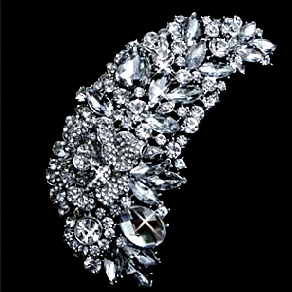 4.7 Inch Huge Clear Crystal Brooch Rhinestone Diamante Marquise Crystal Extra Large Bridal Brooch Jewelry