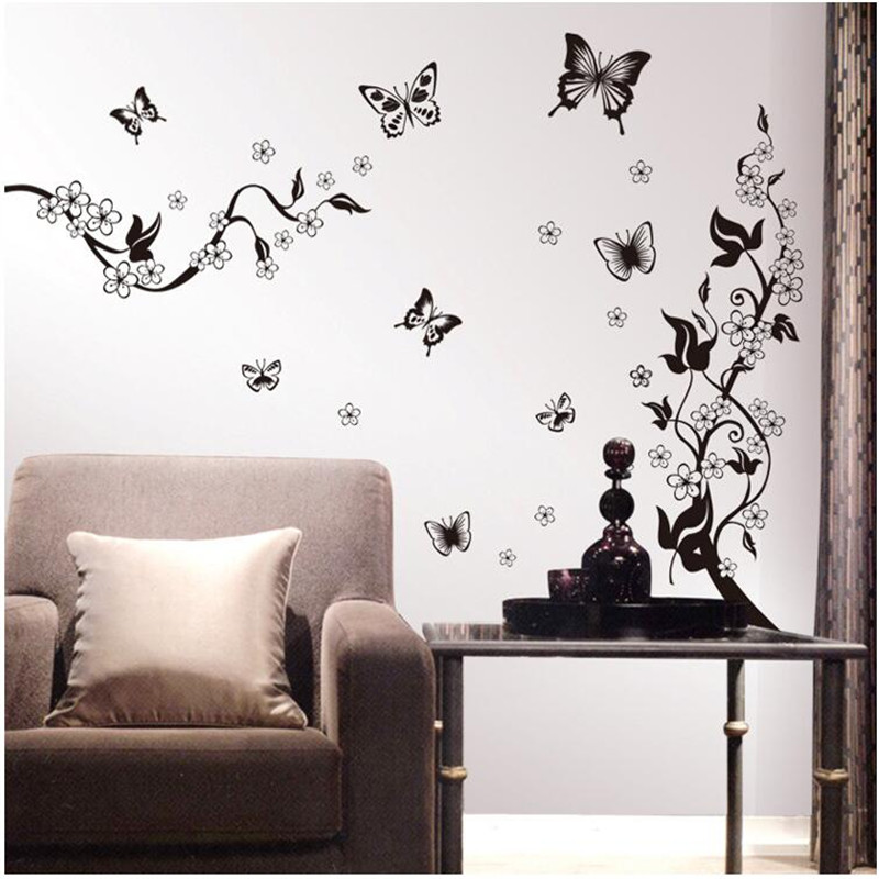 Free Shipping Butterfly Wall Stickers Home Decorations Plant Decals Mural Art Removable DIY pegatinas de pared Black Flower Vine(China (Mainland))