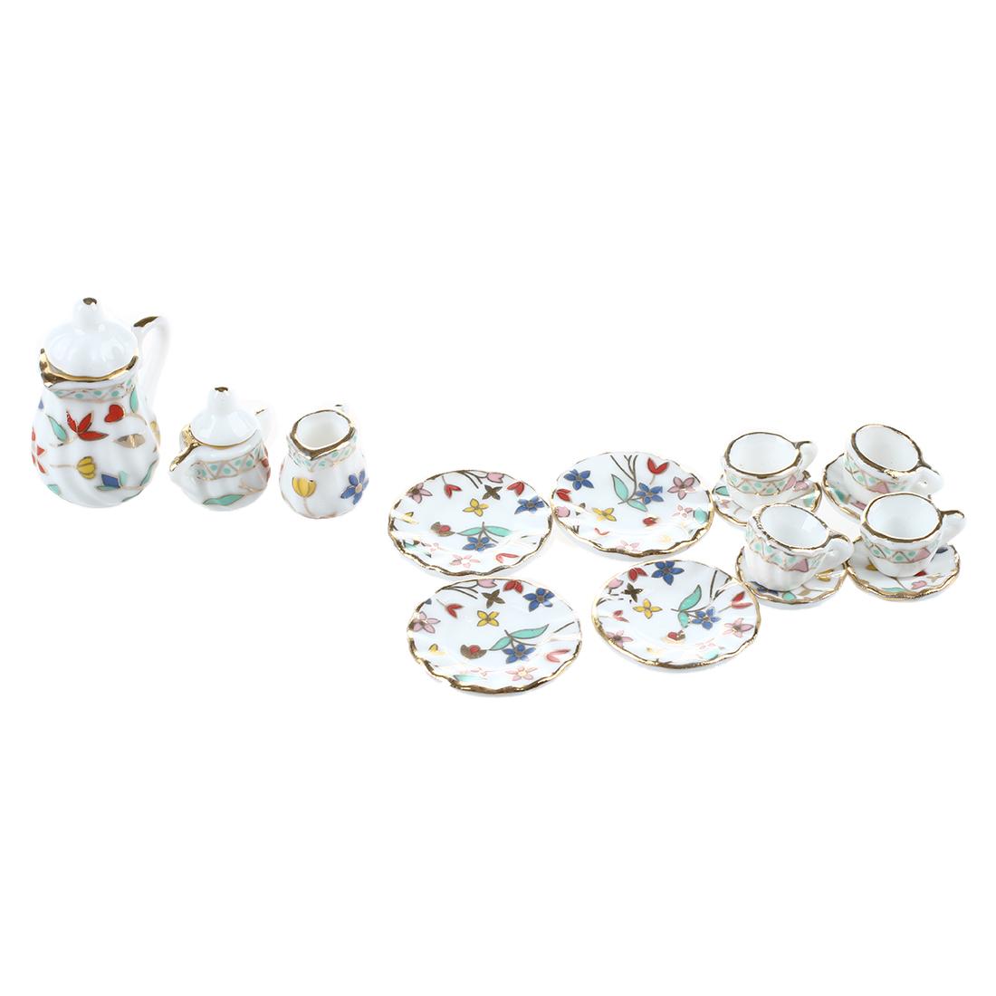 SaLe!! Dollhouse Miniature Blue Band and Floral Porcelain Dinner Set