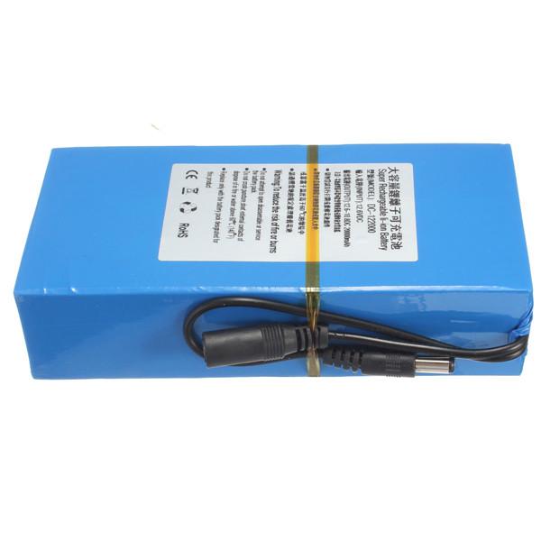 Hot Sale D C 12V 20000mAh Li-ion Super Rechargeable Battery Pack + AC Charger W/ EU Plug(China (Mainland))