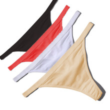 Hot Sale Sexy Women Cotton G String Thongs Low Waist Sexy Panties Ladies' Seamless Underwear Black Red White Skin(China (Mainland))