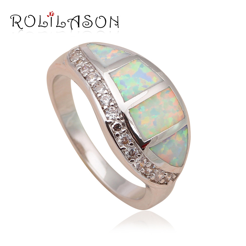 Wonderful Gift for Women White Fire Opal Silver Stamped Shining Zircon Fashion Jewelry Rings USA Size #6#7#8#9 OR684(China (Mainland))
