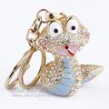 Cute Dragon Keychain Novelty Rhinestone Animal Key Ring Imitation Gemstone Chaveiro Key Chain Free Shipping