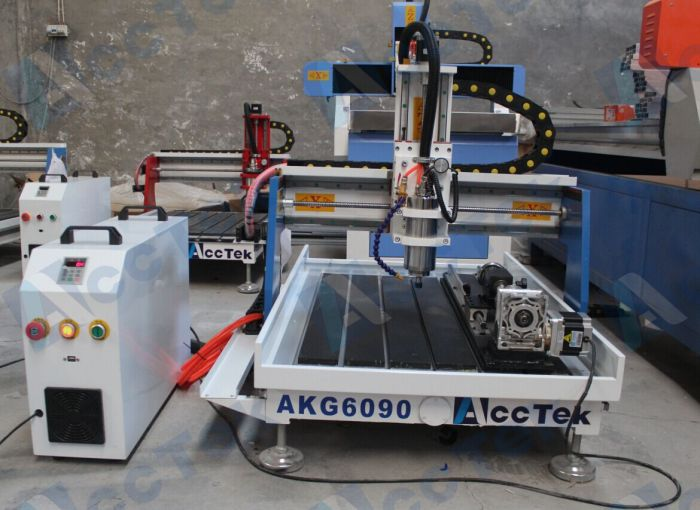 Acctek desktop cnc router usb 6090/6012 for wood/acrylic/stone/aluminum/metal with rotary device water tank cooling(China (Mainland))