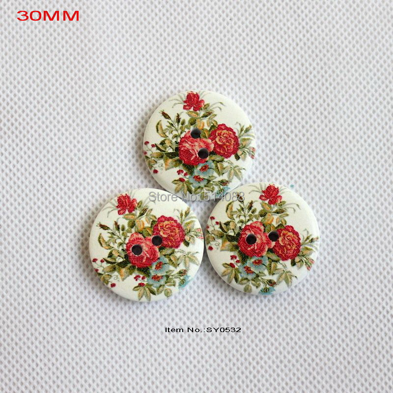 (60pcs/lot) Vintage flower painted wood sewing buttons crafts earrings wooden button supplies 30mm-SY0532(China (Mainland))
