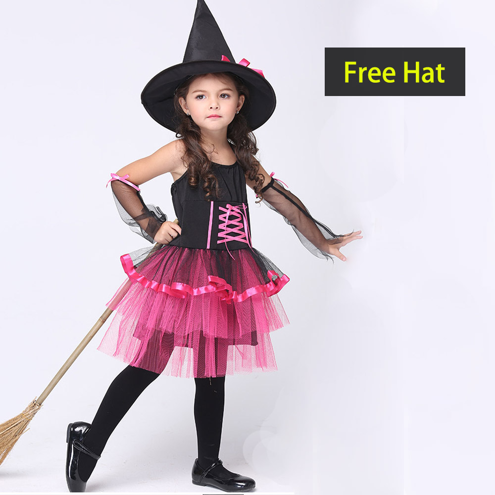 Novel Halloween Cute Witch Costume For Girls Kids Play Cosplay Performance Dance Show Halloween Costumes(China (Mainland))