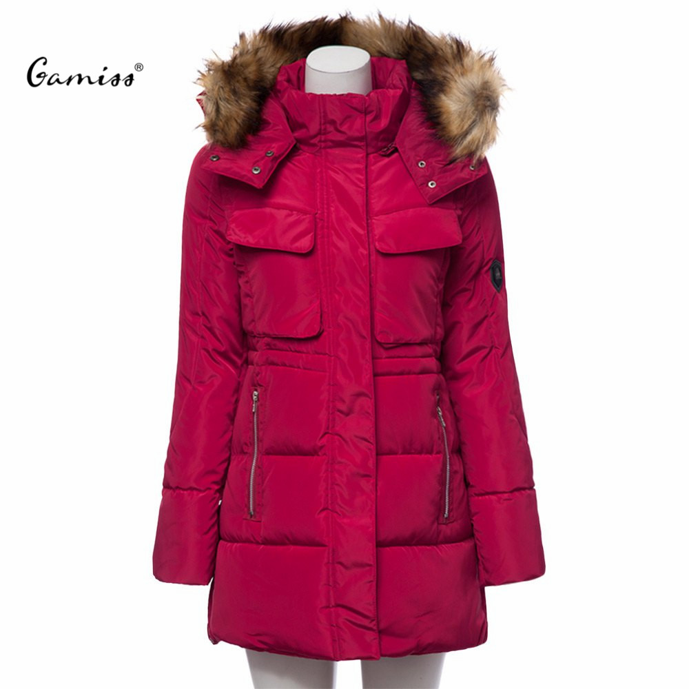 Fashion Slim Detachable Fur Collar Hooded Long Sleeves Zipper Parkas Cotton Down Jacket Coat for WomenОдежда и ак�е��уары<br><br><br>Aliexpress
