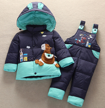 2015 Baby animal Horse Down Jacket jumpsuit Suit Kids Toddler Quality Down Coat+Pants Sets Boys Girls Children Winter Clothing(China (Mainland))