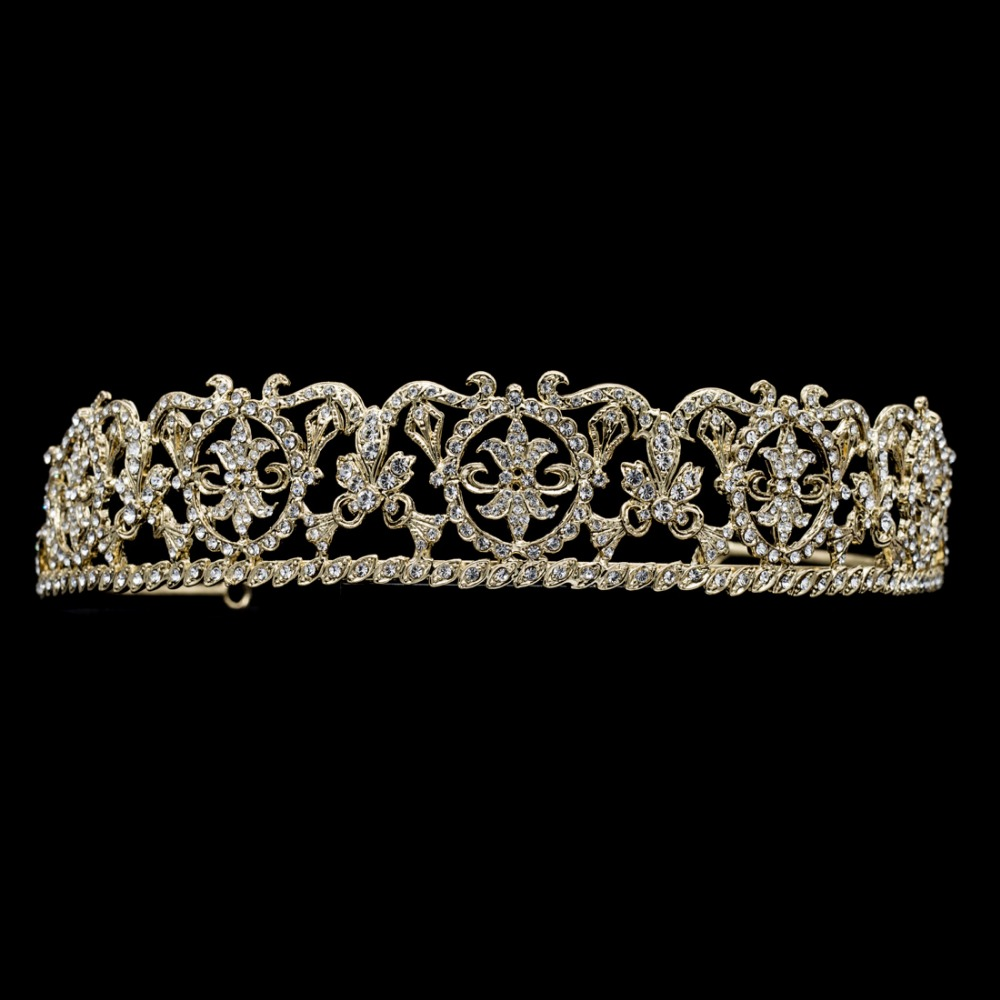 Austrian Crystals Vintage Tiaras Flower Crowns for Bridal Hair Jewelry Accessories Wedding Head Decoration CR15002(China (Mainland))