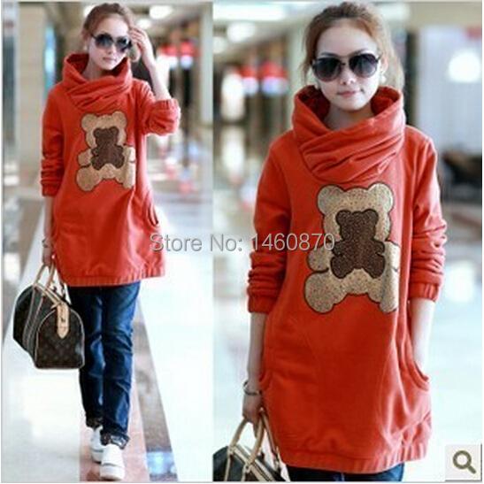 Maternity autumn and winter fashion bear velvet sweatshirts clothing dress fleece cotton pregnant hoodies cute outerwear top<br><br>Aliexpress