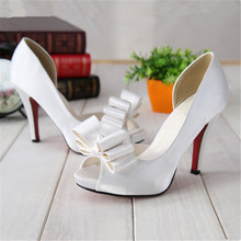 Bow Tie ladies bridal shoes – white/red/black