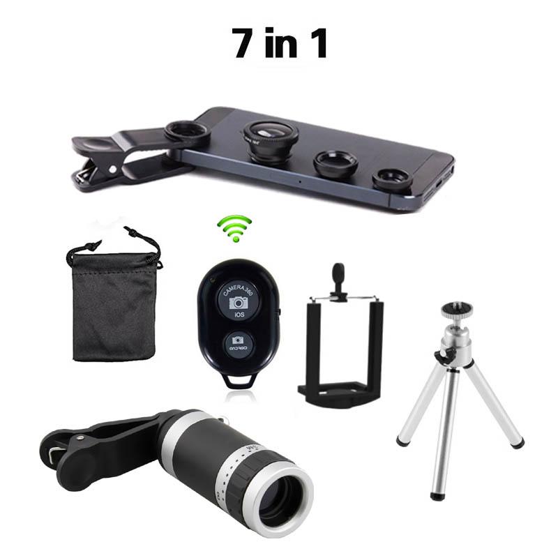 2016 New 7in1 8x Zoom Camera Telephoto Telescope Lens Universal Mobile Phone Holder 3in1 Lens Fisheye Lenses Bluetooth Shutter(China (Mainland))