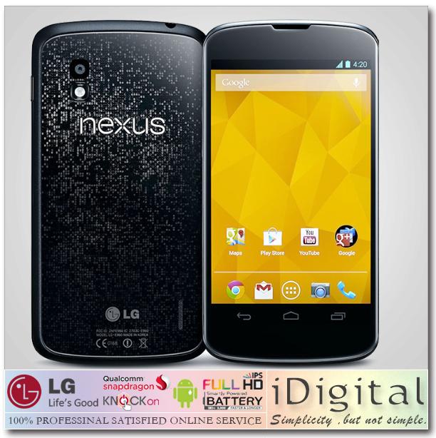 "Original Unlocked LG Nexus 4 E960 Google Mobile Phone Quad Core 1.5GHz 2GB RAM 16GB/8GB ROM 4.7"" 8MP GPS 3G Android 4 Smartphone(China (Mainland))"