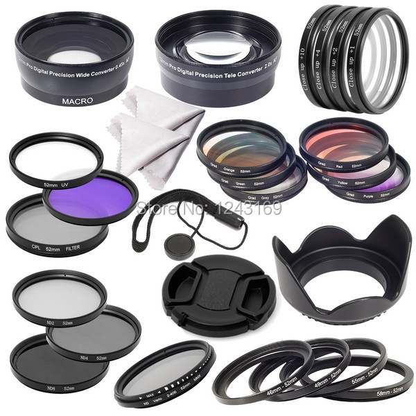 52mm Complete Lens Filter Wide Angle Marco lens Telephoto Lens Set for Nikon D600 D7100 D7000 D5000 D3100 D3000 LF131(China (Mainland))