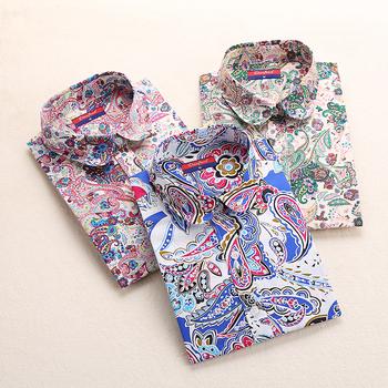 New Vintage Cherry Women Blouses Long Sleeve Blusas Feminino Ladies Cotton Shirt Floral Women Tops And Blouses 2015 New Fashion