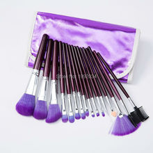 Fashion Make Up Brush Tools 1 Set 16 pcs Professional Makeup Cosmetic Brush Set Kit Pouch Purple With Purple Brush Bag