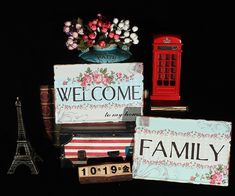 2pcs lot Vintage metal signs wall decor Welcome Family