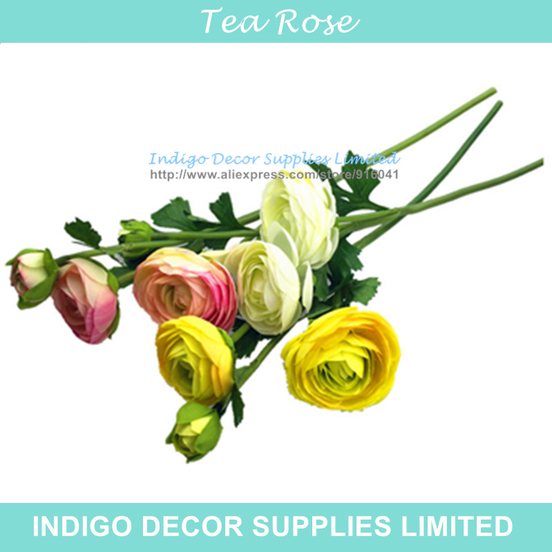 Wholesale 100PCS New Pink Tea Rose 3 heads Tea Rose Home Flower Artificial Wedding Flower Party Event Silk Flower Free Shipping(China (Mainland))