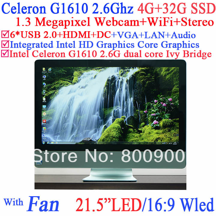 gaming desktop computers all-in-one 21.5 with Intel Celeron G1610 2.6GHz LED 16:9 Widescreen 1.3 megapixel webcam 4G RAM 32G SSD<br>