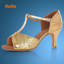 Buy KULLA new arrival gold heel ballroom tango latin dance shoes women dancing salsa shoes high-heeled adult soft outsole L75 for $15.59 in AliExpress store