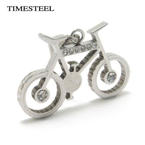 TSN077978 Fashion 316L Stainless Steel Rhinestones Bike / Bicycle / Motorcycle Pendant Necklace(China (Mainland))
