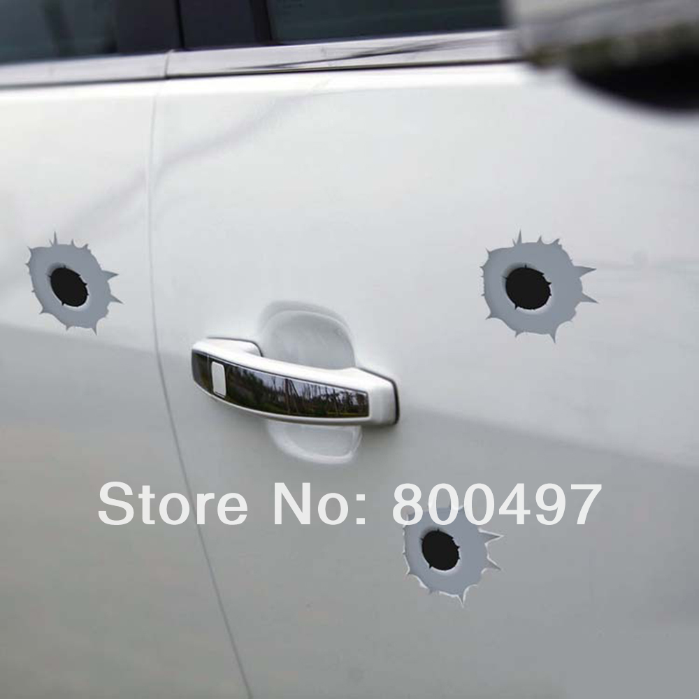 6 x Funny Simulation Gun Bullet Hole Stickers Car Decal for Toyota Ford Chevrolet Volkswagen VW Honda Hyundai Kia Lada(China (Mainland))