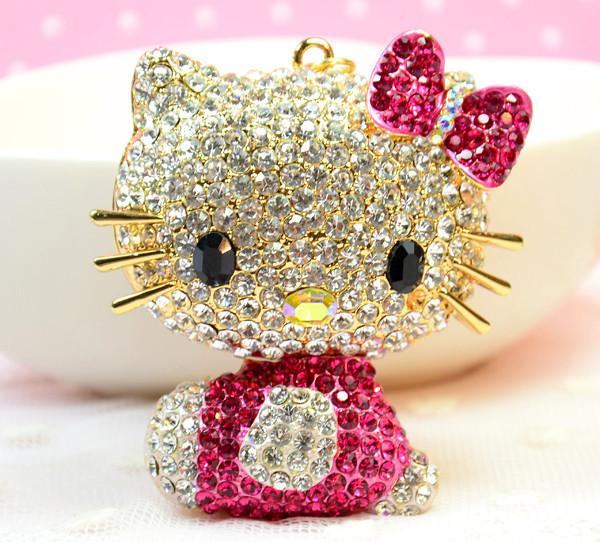 Free Shipping Cute Big Crystal Hello Kitty Keychain Rhinestone Key Chain Key Ring(China (Mainland))