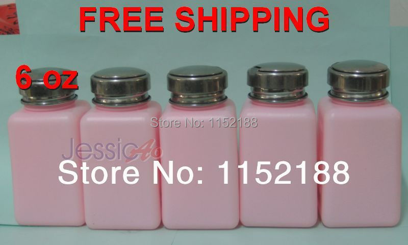 6oz Pink Alcohol soldering Bottle Suitable for medical industry (5pcs/lot) Pumping Dispenser Cleaner Bottle FREE SHIPPING(China (Mainland))