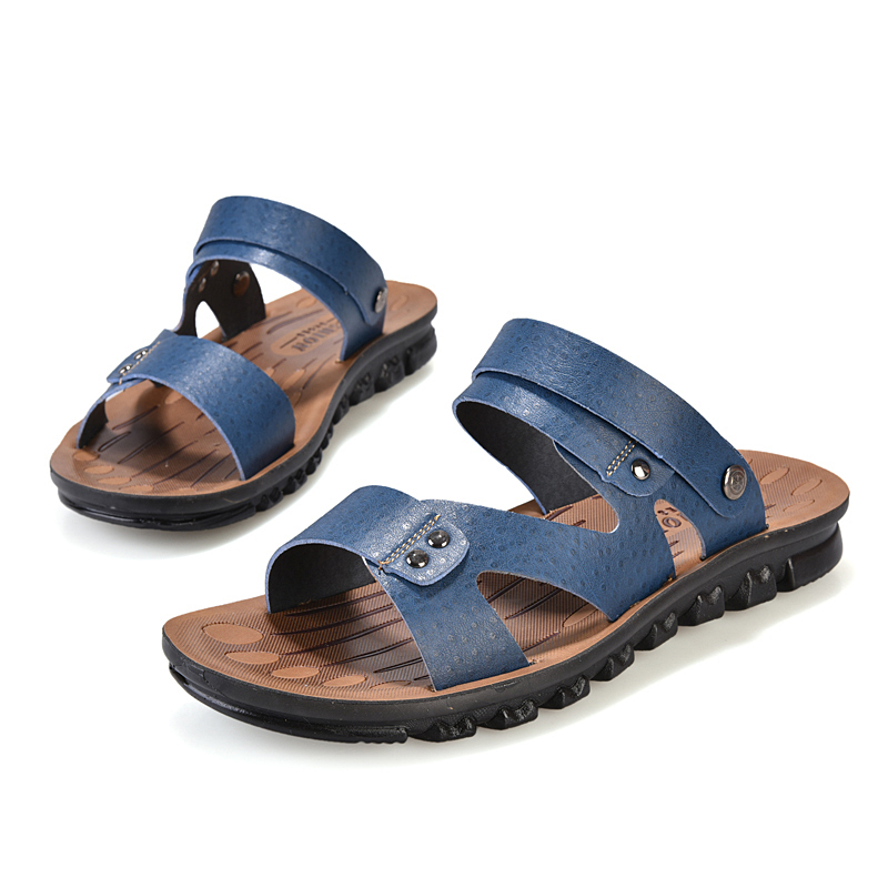 Summer style genuine men's casual sandals male beach shoes super fiber leather breathable slippers - Edelman store